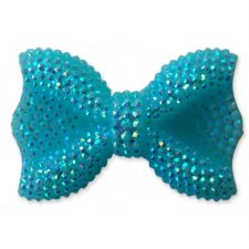 44mm TURQUOISE BLUE Sparkling Kawaii Bow Flatback Cabochon